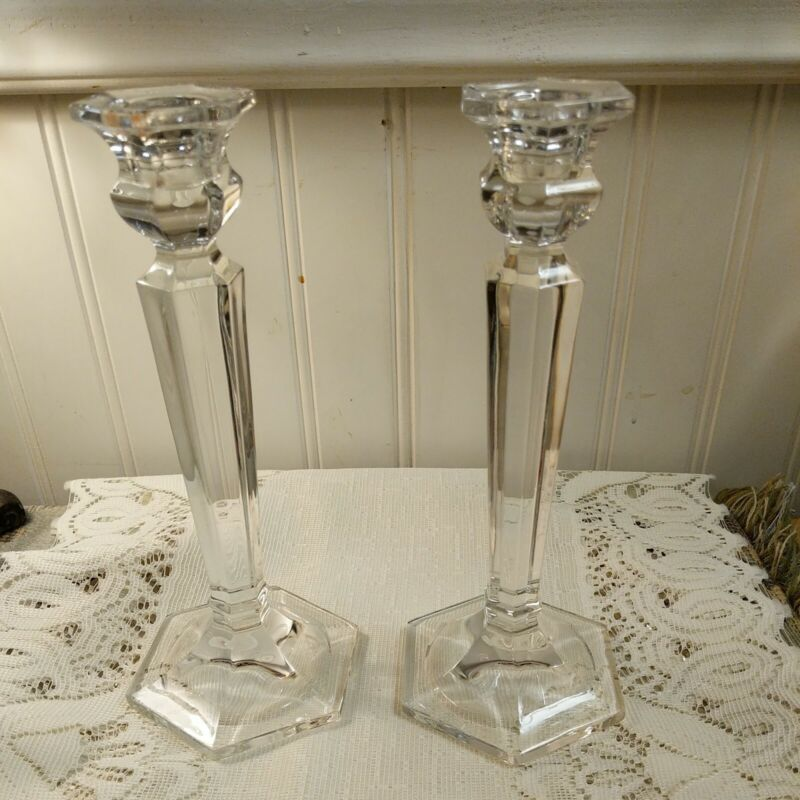 """Pair of Vintage 24% LEAD CRYSTAL CANDLE HOLDER 8"""" tall"""