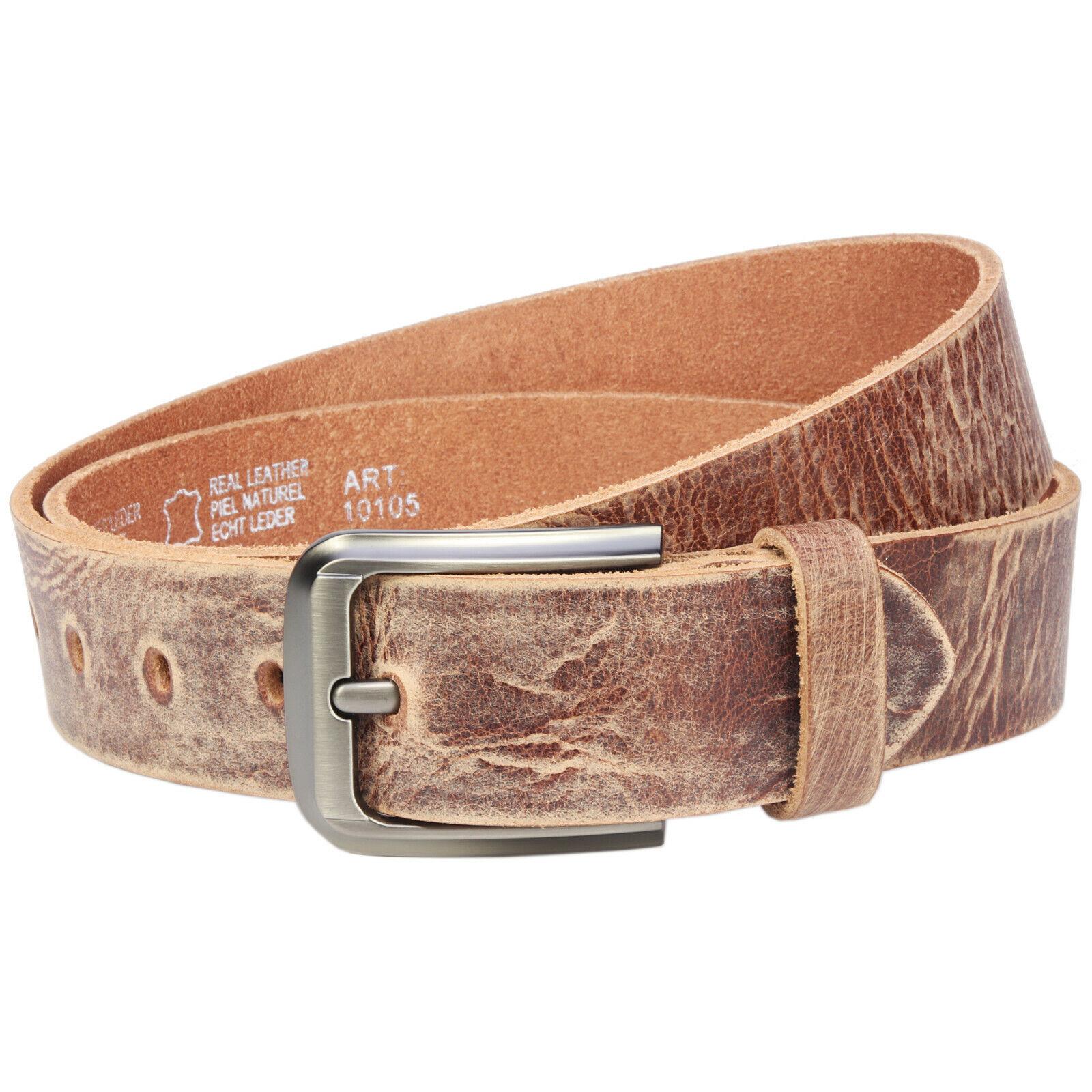 4cm echt Büffelleder Gürtel Braun Herren Jeans Leder Handgemacht 85cm-145 cm