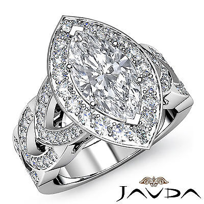 Halo V Shaped Split Shank Marquise Diamond Engagement Pave Ring GIA H VS2 2.35Ct