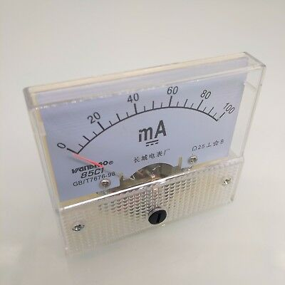 US Stock Analog Panel AMP Current Ammeter Meter Gauge 85C1 0-100mA DC (Analog Amp Panel Meter)