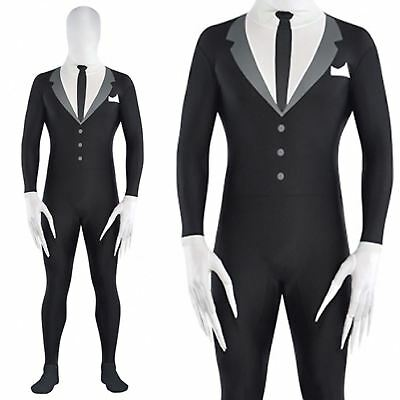 Adult Mens Slender Man Partysuit Halloween Spandex Skin Fancy Dress Costume Teen - Slender Man Halloween