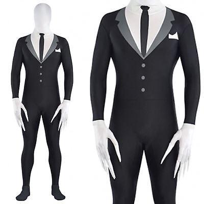 Adult Mens Slender Man Partysuit Halloween Spandex Skin Fancy Dress Costume Teen (Halloween Slenderman Kostüme)