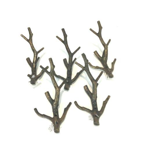 Lot 5 Brass Hooks TREE BRANCH