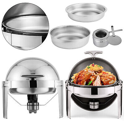 2 Set Chafing Dish Pans 6 Quarts 6.8 L Stainless Steel Food Warmer Top Chafer