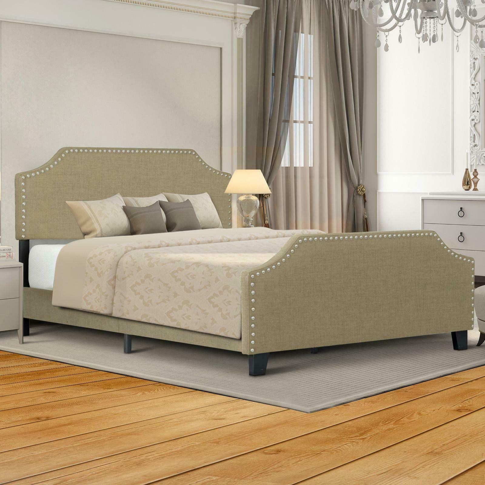 Twin/Full/Queen Size Bed Frame Platform With Headboard Footb