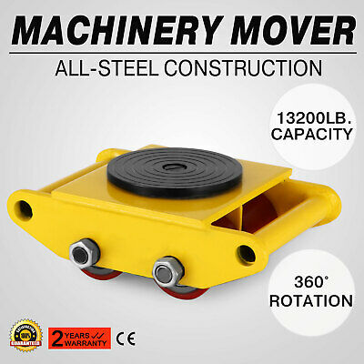 Machinery Mover With 360rotation Cap 13200lbs 6t 4 Rollers Dolly Skate