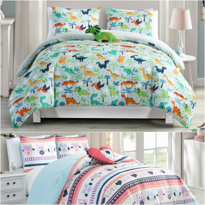 Chezmoi Collection Kids Bedding Microfiber Printed Comforter Set w/ Plush Pillow