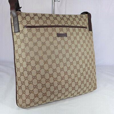 Authentic Vintage Gucci Brown GG Canvas Medium Crossbody Messenger Shoulder Bag