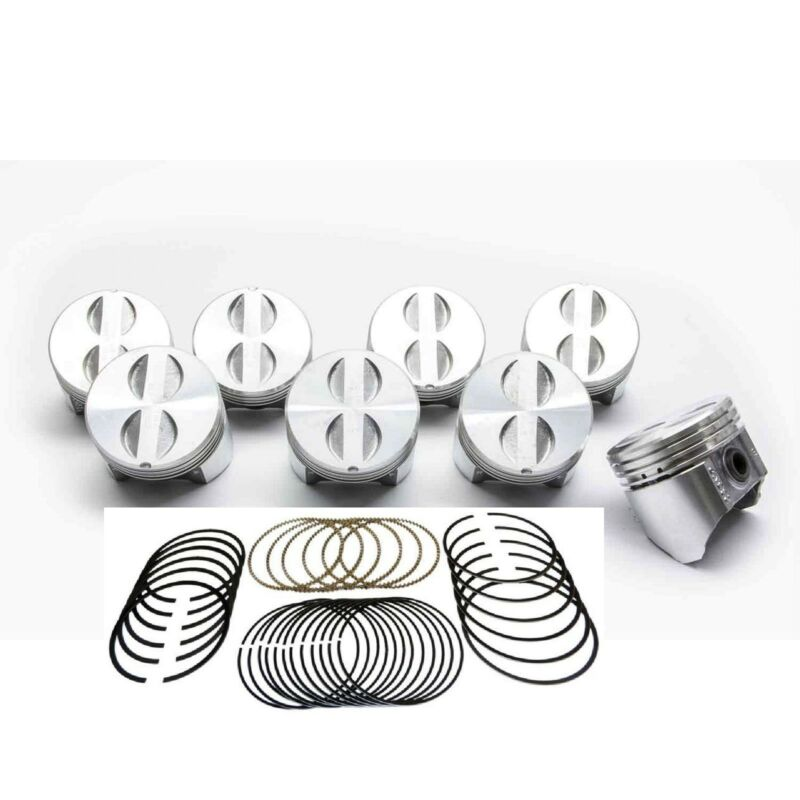 Chevy 283 Sealed Power//Federal Mogul Cast Flat Top 4VR Pistons+Rings Set//Kit 60