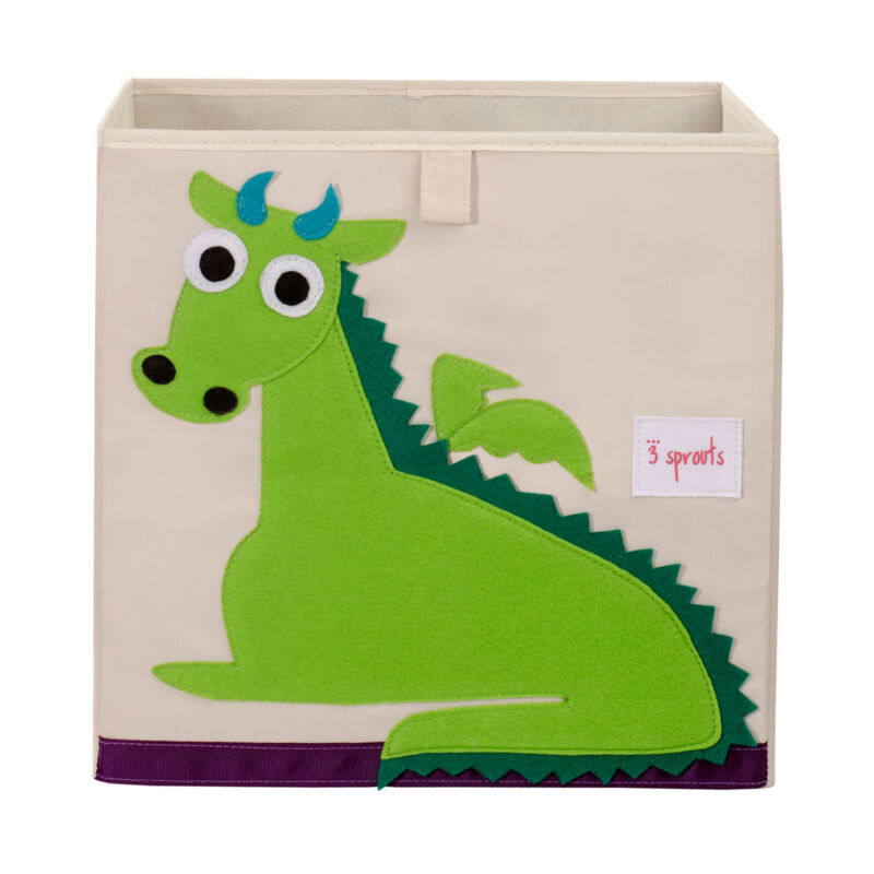 3 Sprouts Cube Storage Box - Organizer Container for Kids & Toddlers, Dragon