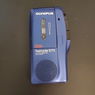 Olympus Pearlcorder S711 Handheld Voice Micro Cassette Recorder Blue Tested
