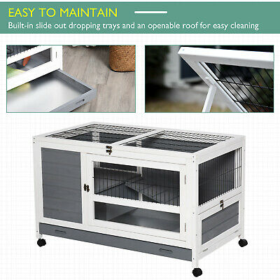 Wooden Rabbit Hutch Elevated Pet Bunny House With Slide-Out Tray Indoor Grey - CA$219.99