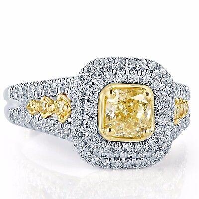GIA Certified 1.66 Ct Light Yellow VS2 Radiant Cut Diamond Halo Engagement Ring