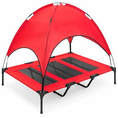 BCP 48in Outdoor Raised Cooling Pet Dog Bed w/ Canopy, Travel Bag