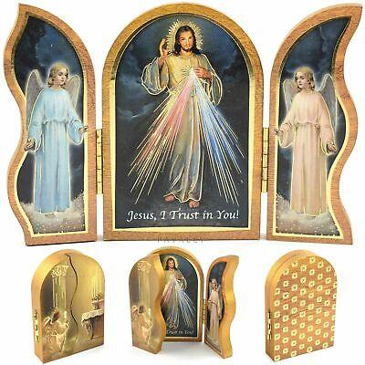"DIVINE MERCY WOODEN TRIPTYCH PLAQUE 3.5"" Jesus Christ Catholic Religious Gift"