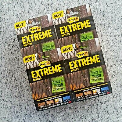 Lot Of 4 Packs Post-it Extreme Water-resistant Notes 3 X 3 540 Pads Total