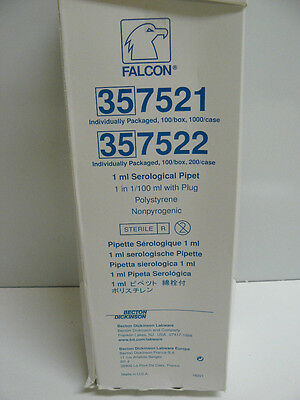 Bd Falcon 357521 Serological Pipet 1 Ml 1 In 1100 Ml With Plug Polystyrene New