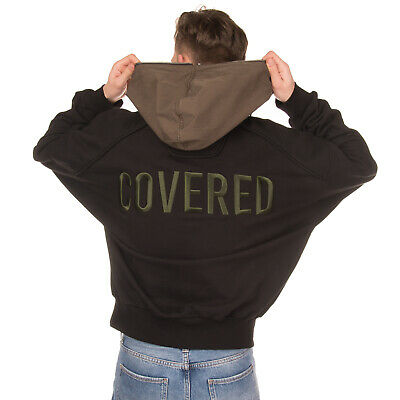RRP €395 JUUN.J Hoodie Size 46 / S Embroidered 'COVERED' Two Tone Asymmetric Zip