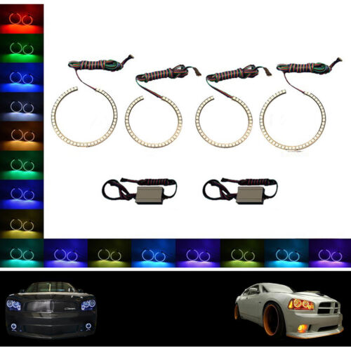 Multi-Color Changing LED RGB Headlight Halo Ring Set For 2005-10 Dodge Charger