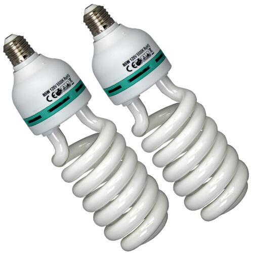 2x 85W 5500K Fluorescent Photo Studio Energy Saving Day Light Bulbs Compact Lamp