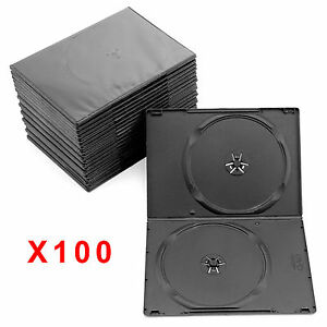 100 x Double DVD Case Cases 7mm Spine Slim Black Clear Front Cover Sleeve