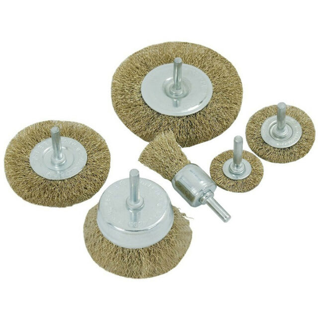 """6pc BRASS WIRE WHEEL END & CUP BRUSH SET 1/4"""" shank for rotary tools and drills"""