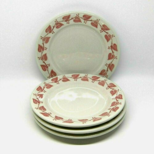 4 Buffalo China Windsor Red Leaf 1950s Restaurant Ware Bread Butter Plates