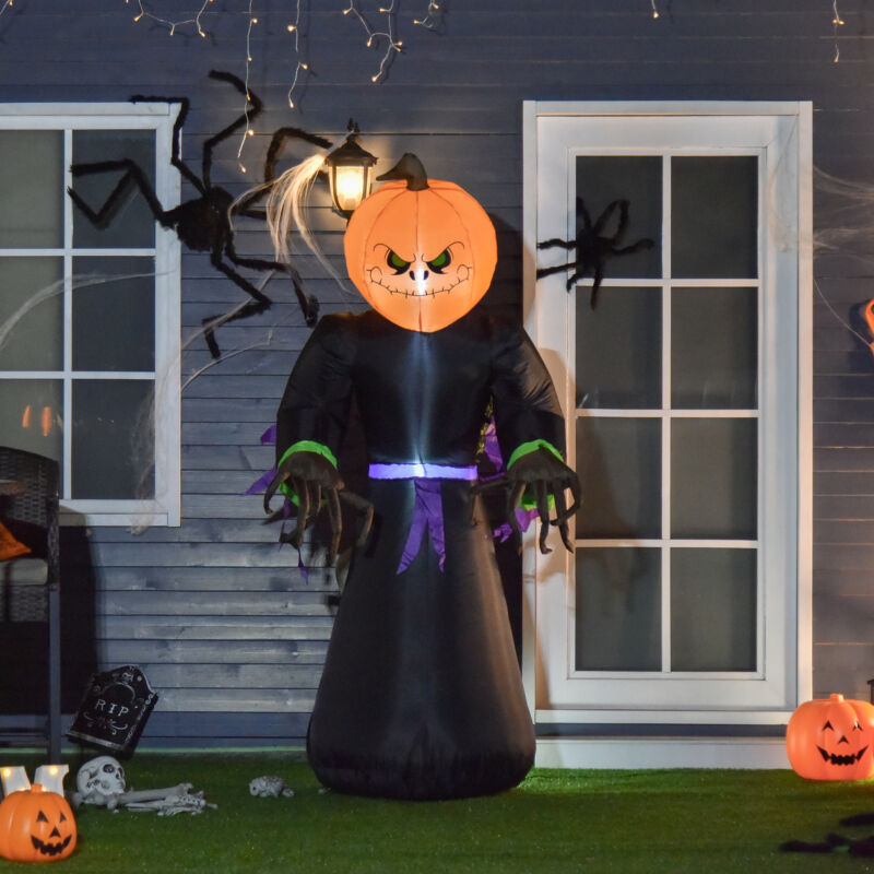 7ft  Halloween Airblown Inflatable Pumpkin Reaper Ghost Outdoor Decorations Yard