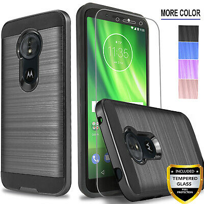 For Motorola Moto G6 Play Plus Forge Case Phone Cover +Tempered Glass Protector ()