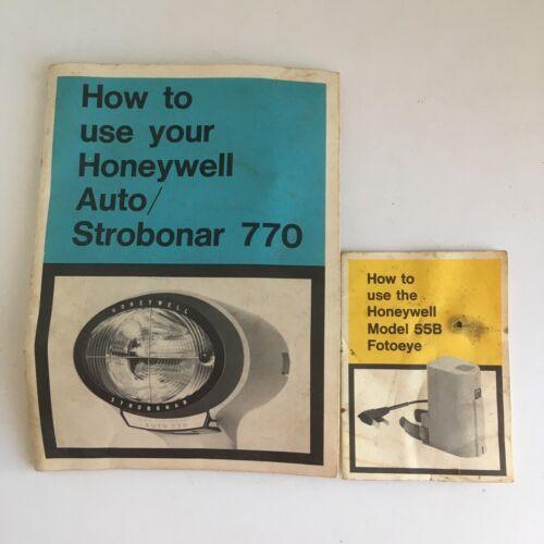 Lot of 2 Vintage Honeywell Manuals Strobonar 770 and Model 55b Fotoeye