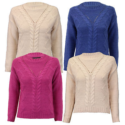 Neu Damen Pullover Damen Klobig Kabel Strickpulli Pullover Top Amara Reya ()