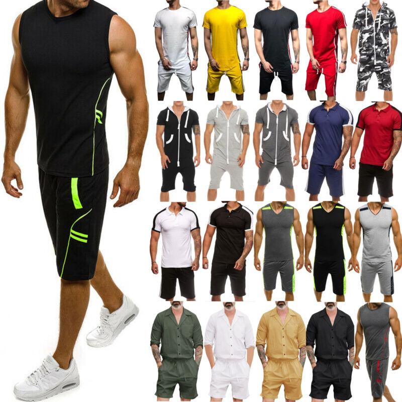 Men Summer Sports Tracksuit T shirts Shorts Pants Outfit Set