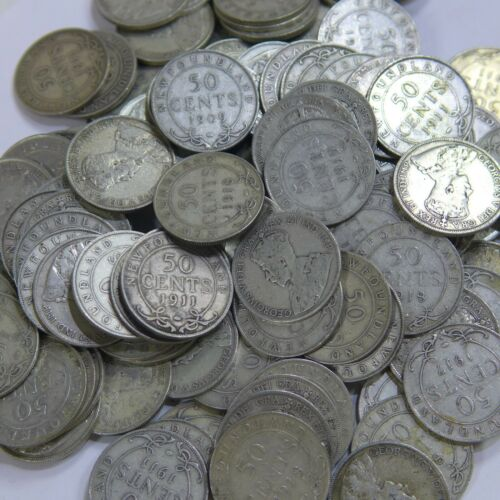 Roll of (20) 1904 -1919 New Foundland 50 Fifty Cent .925 Silver Coins G-F Mixed