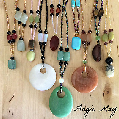 Wholesale Lot Handcrafted Multi Gemstone Pendant Beaded Necklaces 3, 5, 10 - Wholesale Beaded Necklaces