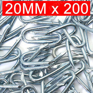 200 x GALVANISED 20mm U Nails Netting Staples Fencing Post Chicken Wire Mesh