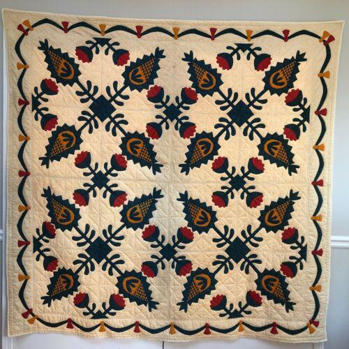 "Antique Floral Pineapple Quilt Handmade Hawaiian? 76""x78"" Red, Navy Blue, Yellow"