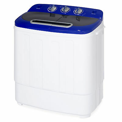 BCP Carry-on Mini Washing Machine w/ Hose, 13lbs Capacity - White/Blue