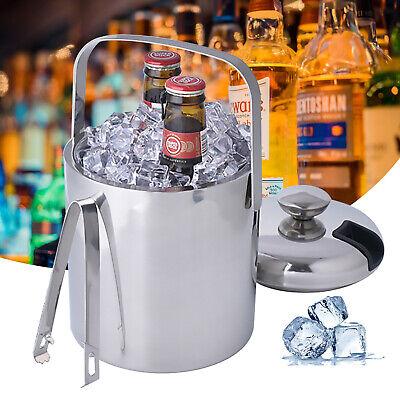 1.3L Edelstahl Eiswürfeleimer Eiseimer Eiswürfel-Behälter & Eis-Zange Sektkühler