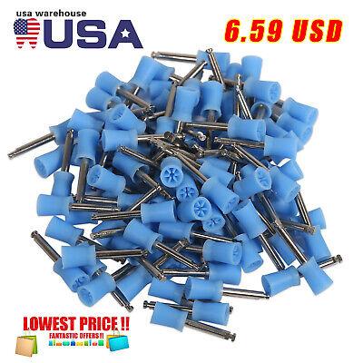 100 Pcs Dental Prophy Cup Rubber Polisher Brush Polishing Latch Type Blue
