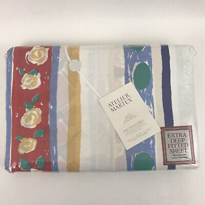 Vintage Martex Atelier King Extra Deep Fitted Sheet Beach House Striped New - Beach Stripe Bedding Sheets