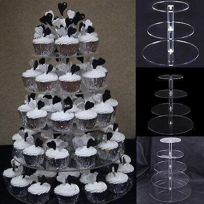Layers Acrylic Cupcake Display Stand Serving Table Platter Rack Wedding Party US - Cupcake Rack