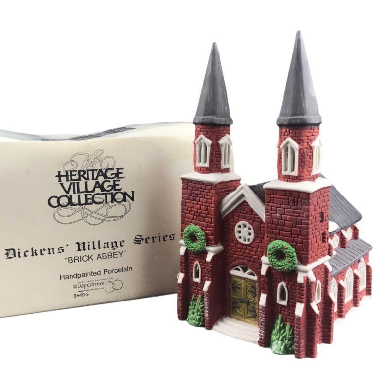Department 56 Dickens Christmas Village Brick Abbey Church 1987