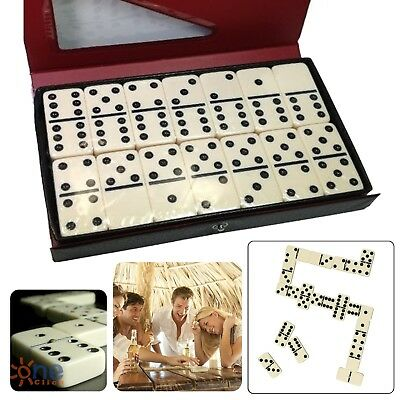 Double Six 6 Professional Dominoes Game Set 28 Piece Domino Tiles Ivory w/ - Dominoes Set