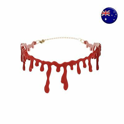 Women Girl Halloween Party Blood look Vampire Choker Punk Short Necklace PROP - Vampire Look Halloween