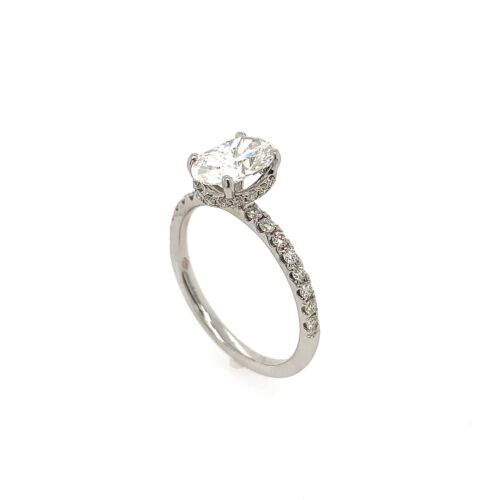 1.12 Carat Oval Cut G - SI2 GIA Diamond Halo Engagement Ring 18k White Gold 2
