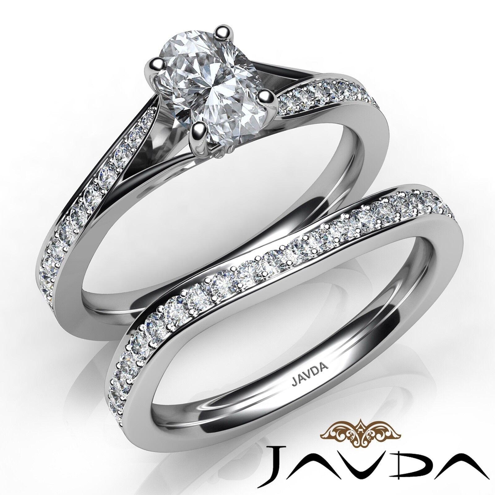 1.4ctw 4 Prong Bridal Set Pave Oval Diamond Engagement Ring GIA E-VS1 White Gold