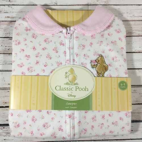 NEW Baby Girl 6-9 month Classic Pooh Disney Pink Flower Sleeper Winnie the Pooh
