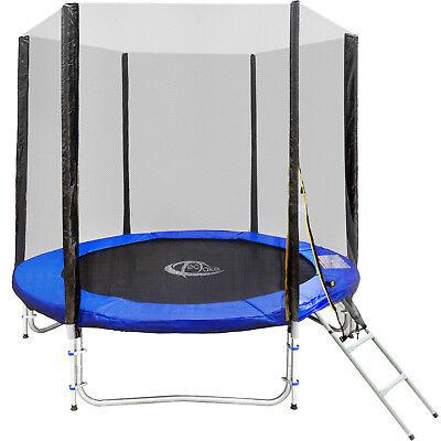 Trampolino elastico da giardino con rete di sicurezza scaletta Ø 244 cm TÜV/GS