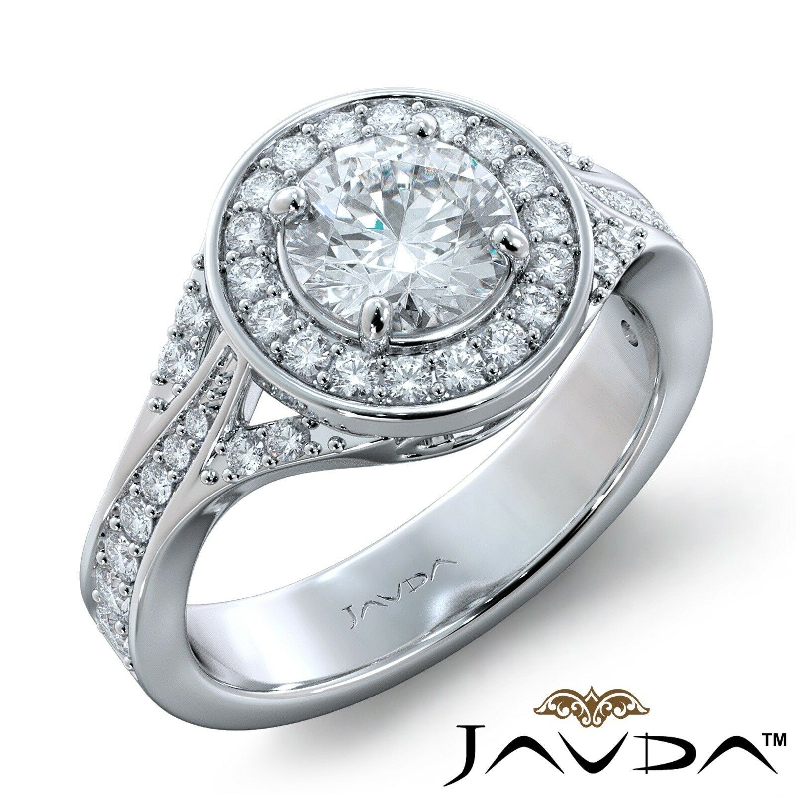 2.46ctw Halo Sidestone Pave Round Diamond Engagement Ring GIA E-VS1 White Gold