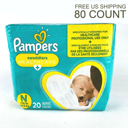 NEW Pampers Couches Swaddlers Newborn 80 Count Size N <10lb Babies